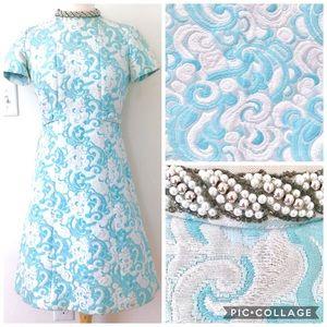 Rare Vintage 60s Mod Brocade Cloud Dress